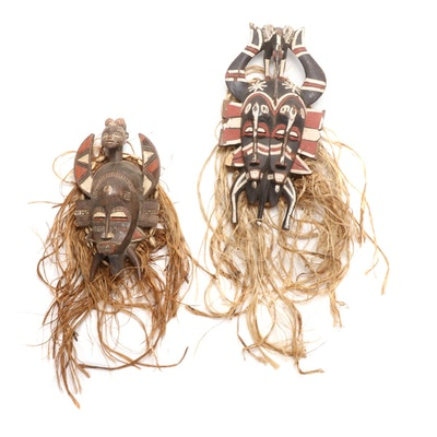 Senufo Style Hand-Carved Wood Masks, West Africa