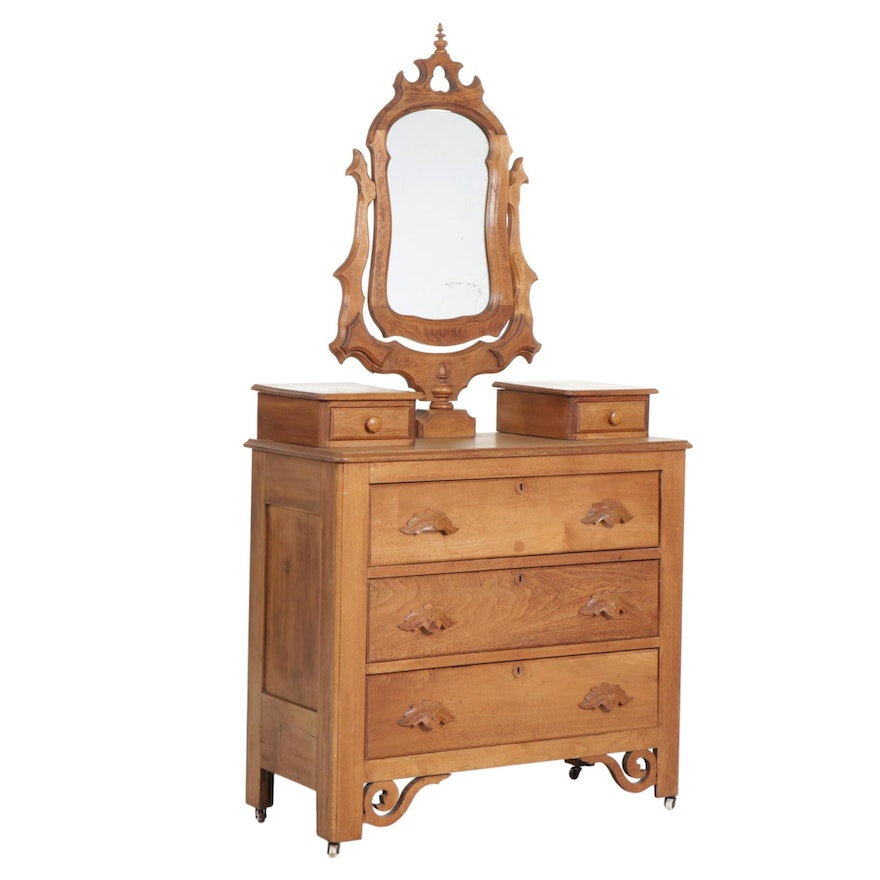 Victorian Walnut Three-Drawer Dresser with Mirror, Mid to Late 19th Century