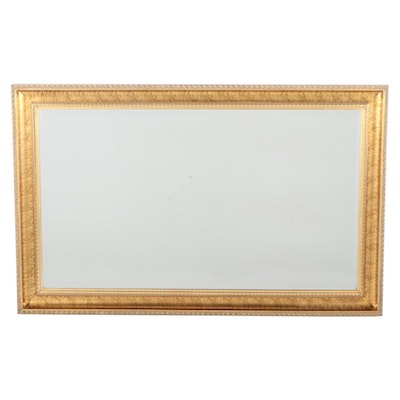 Contemporary Gold Tone Framed Beveled Glass Wall Mirror