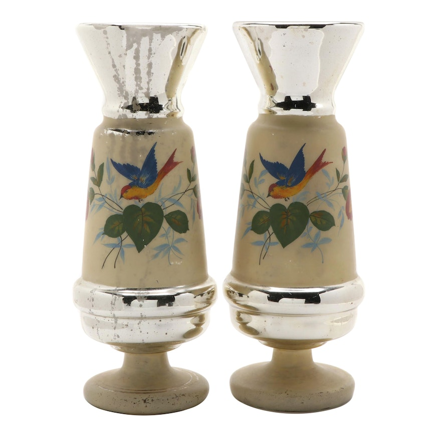 Pair of Victorian Hand-Painted Mercury Glass Vases, Mid to Late 19th Century