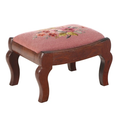 Victorian Walnut and Needlepoint Footstool, Late 19th Century