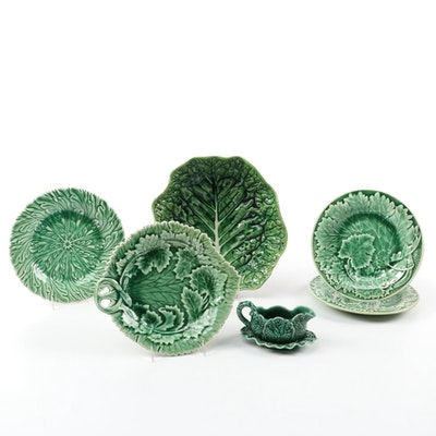 English Shorter and Sons and Other Cabbage Leaf Majolica Tableware, Vintage
