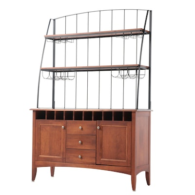 Contemporary Birch Buffet with Iron Wine Rack Shelving