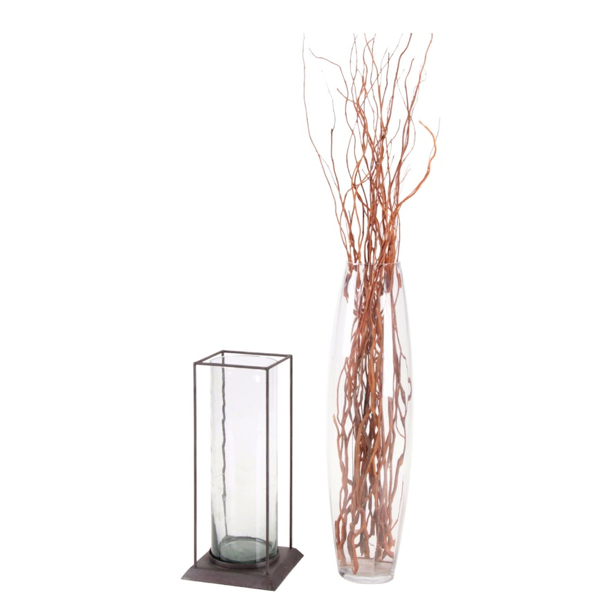 Glass Vase with Curly Willow Branches an Alchemy Cylinder Caged Glass Vase
