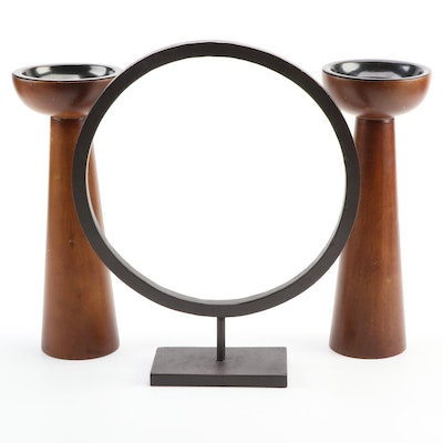 Crate & Barrel Wood Candle Holders with Metal Circlet Stand