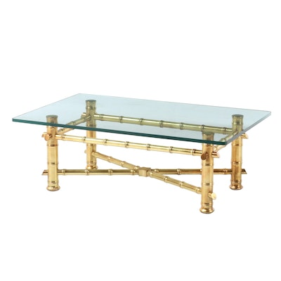 Gilt Metal Bamboo Style Coffee Table