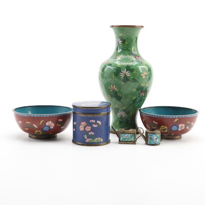 Chinese Cloisonné Vase, Bowls, Lidded Jar, and Miniature Teapots