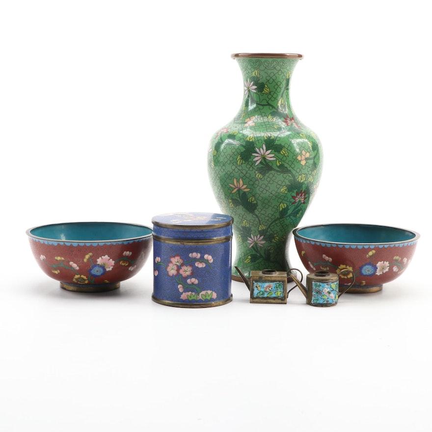 Chinese Cloisonné Vase, Bowls, Lidded Jar, and Miniature Teapots