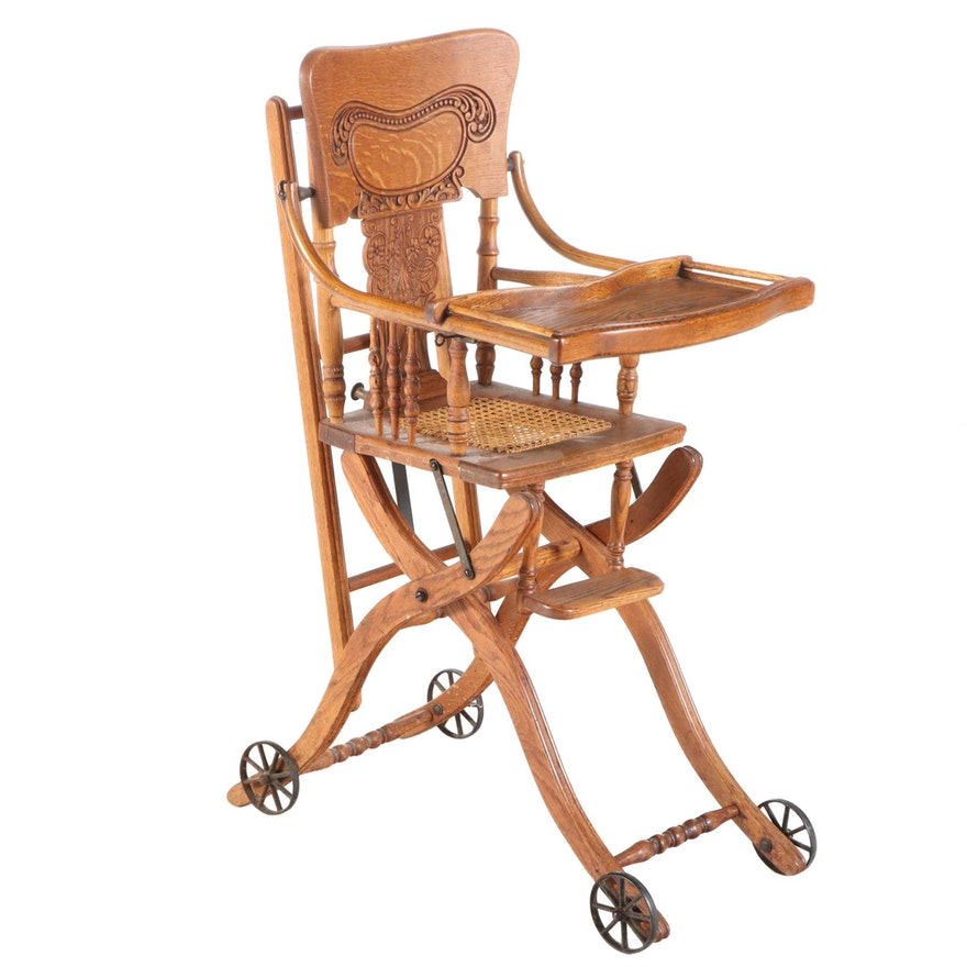 Late Victorian Oak Pressed-Back Child's Highchair Stroller