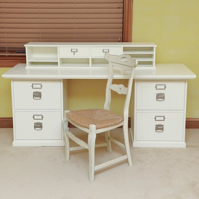 """Pottery Barn """"Bedford"""" Wooden Desk with Rush Seat Chair"""