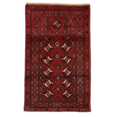 2'8 x 4'5 Hand-Knotted Afghan Baluch Prayer Rug