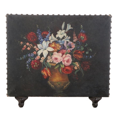 Still Life Oil Painting on Fireplace Screen, 20th Century