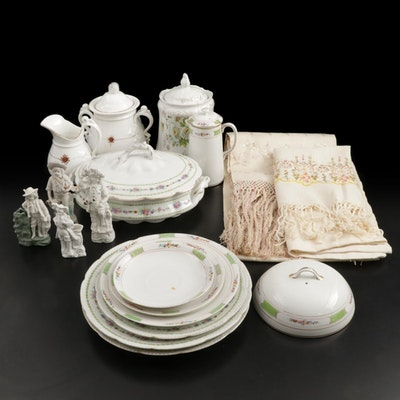 Nippon, Limoges and Other Porcelain Dinnerware with Bisque Figurines
