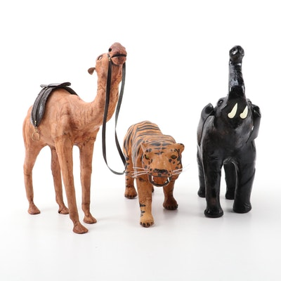 Leather Wrapped Animal Figurines with Glass Eyes, Mid-20th Century
