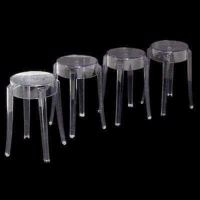 Four Philippe Starck for Kartell Charles Ghost Clear Plastic Stools