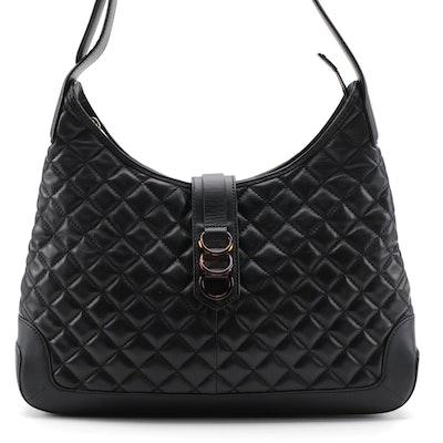 Talbots Black Quilted Leather Shoulder Bag