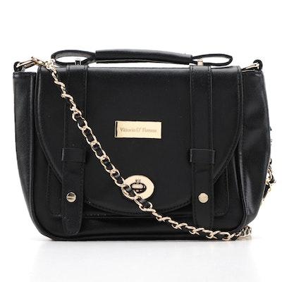 Vittorio D'Firenze Black Vegan Leather Front Flap Bag