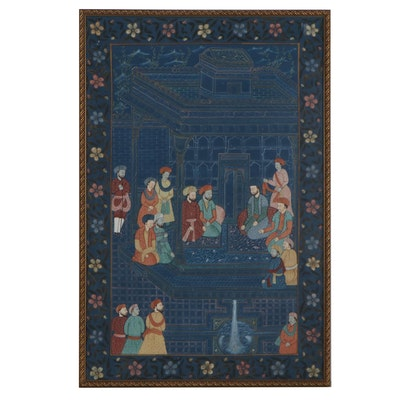 Indo-Persian Mughal Style Gouache Painting of Court Scene