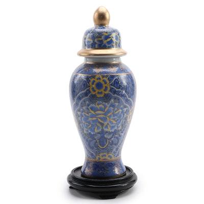 Chinese Enameled Ceramic Ginger Jar  on Stand