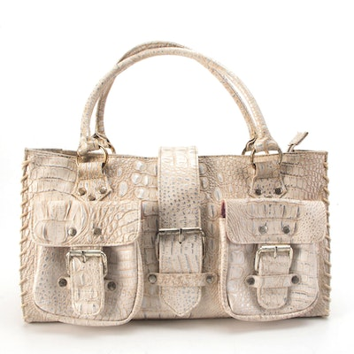 Double Pocket Shoulder Tote in Croc-Embossed Faux Leather
