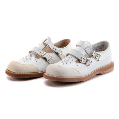Children's Foot Mates White Leather Brogue Mary Jane Shoes, 1960-70s