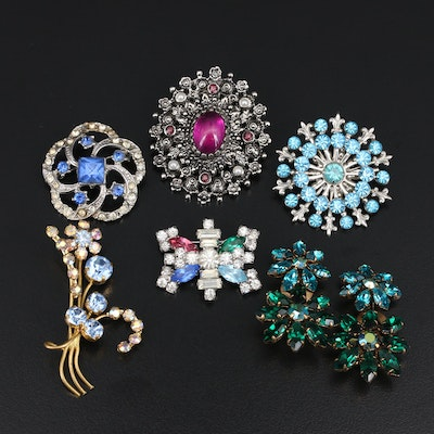 Vintage Jewelry Including Austrian Crystal Earrings, Glass and Faux Pearls
