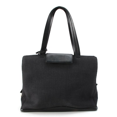 Prada Tote Bag in Grey Nylon Textile and Black Leather