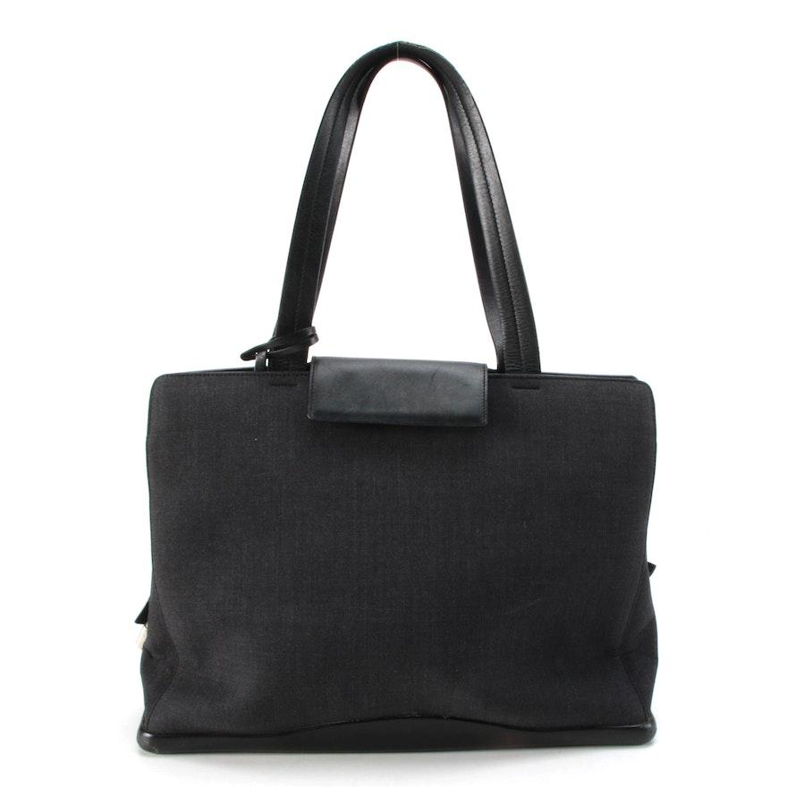 Prada Tote Bag in Grey Nylon Textile and Black Leather