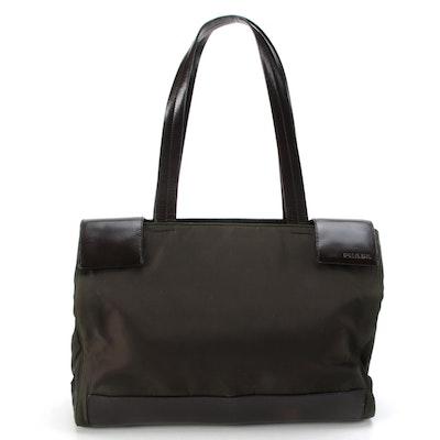 Prada Tote Bag in Dark Olive Green Nylon and Brown Leather