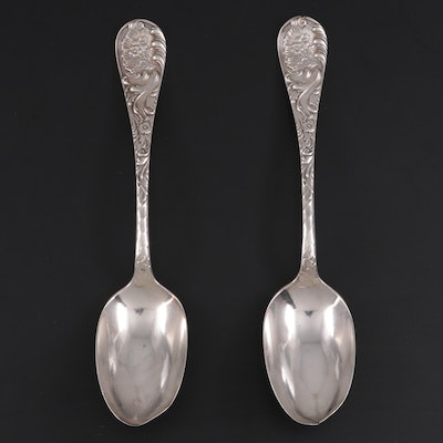 """Wood & Hughes """"Louvre"""" Sterling Silver Serving Spoons, Late 19th Century"""
