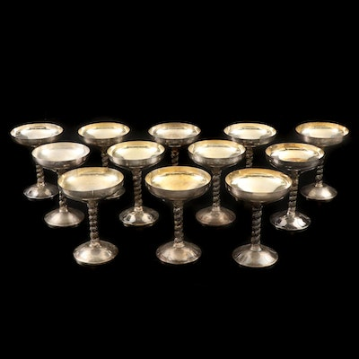 Spanish Silver Plate Champagne Coupes with Grape Vine Stems