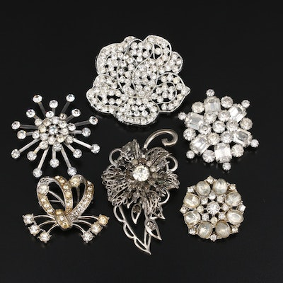 Vintage Rhinestone Brooches Including Flower, Bowtie and Leaf