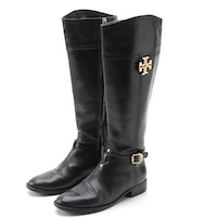 Tory Burch Eloise Black Leather Riding Boots