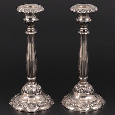 Godinger Floral Motif Silver Plate Candlesticks