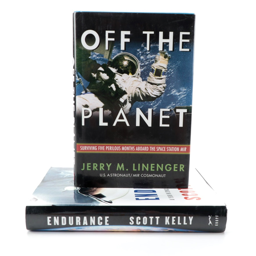 """Signed """"Endurance"""" by Scott Kelly and Signed """"Off the Planet"""" by Jerry Linenger"""
