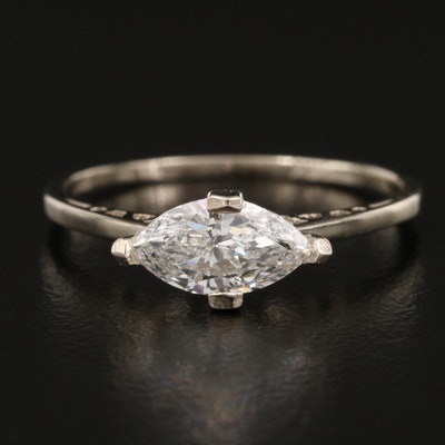 14K 0.54 CT Diamond East-West Solitaire Ring