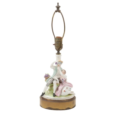 Dresden Style Courting Couple Porcelain Boudoir Lamp, Early 20th Century