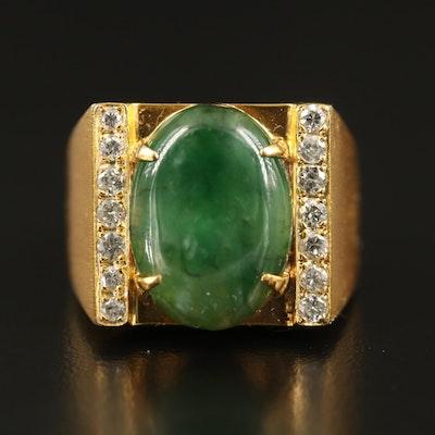 10K Jadeite and Diamond Ring