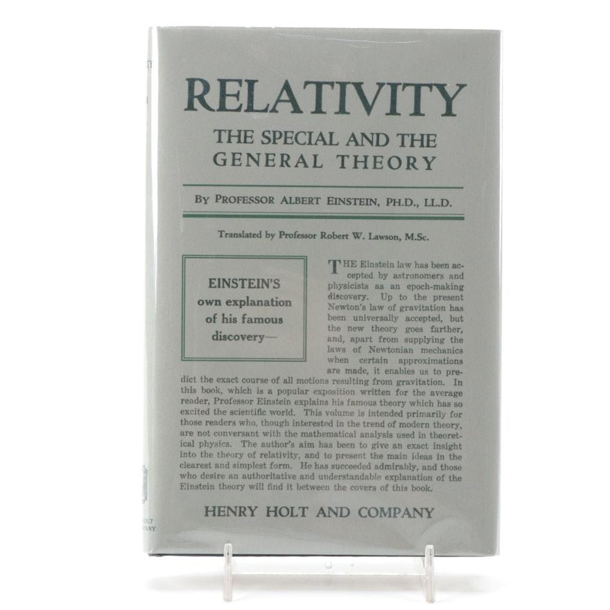 """First American Edition """"Relativity"""" by Albert Einstein, 1920"""