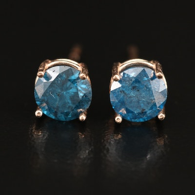 14K 1.40 CTW Blue Diamond Stud Earrings