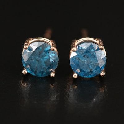 14K 1.40 CTW Blue Diamond Stud Earrings