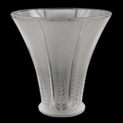 "Lalique ""Epis"" Frosted Crystal Flower Vase"