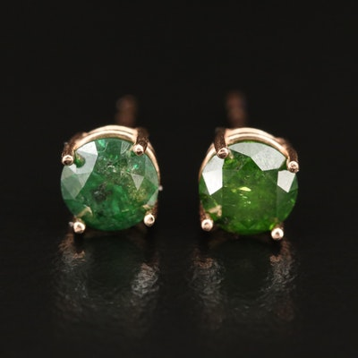14K 1.38 CTW Green Diamond Stud Earrings