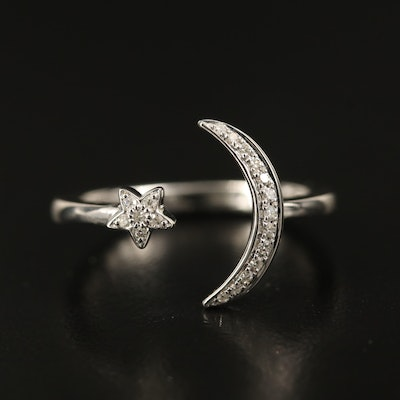 EFFY 14K Diamond Crescent Moon & Star Open Shank Ring