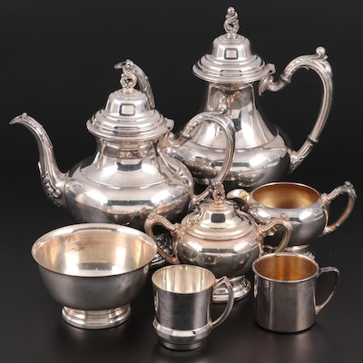 "Oneida ""Sea Crest"" Coffee and Tea Service with Other Silver Plate, Late 20th C."