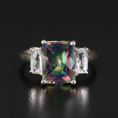 14K Mystic Topaz Three Stone Ring