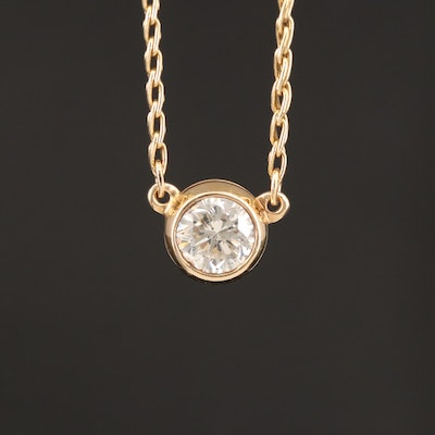 14K Bezel Set 0.91 CT Diamond Solitaire Necklace