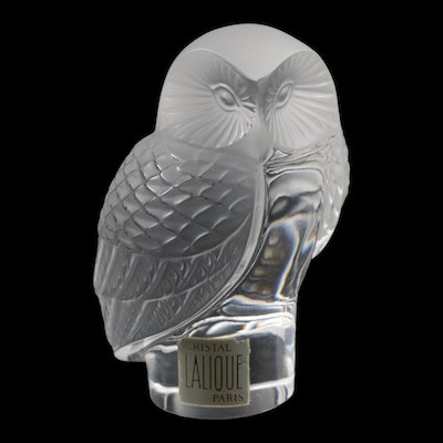 """Lalique """"Owl"""" Crystal Paperweight"""