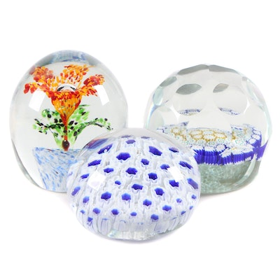 Millefiori and Other Art Glass Paperweights, Late 20th Century