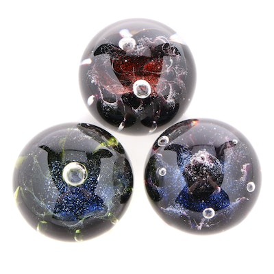 Signed Caithness Handblown Art Glass Paperweights, Late 20th Century